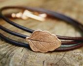Leaf Bracelet Leather Wrap - Autumn Leaf - Eco Friendly Recycled Bronze