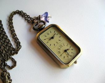 Double Watch Necklace, Antique Bronze Floral Watch Pendant, Swarovski Charm, Ultraviolet Czech Glass Flower