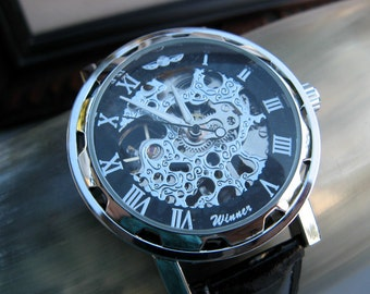 Classy Steampunk Mechanical Wrist Watch with Black Leather Wristband - Men - Groom - Groomsmen - Watch - Item MWA69