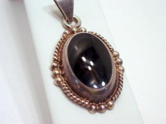 Vintage Black Stone Pendant Huge Sterling Silver 925 Vintage Jewelry Jewellery Mexico Designer Signed