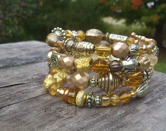 Beaded Memory Cuff Bracelet with Gold, Brass, Bronze, and Amber Beads