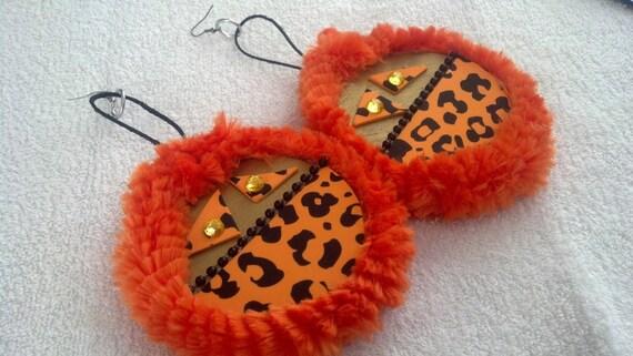 Big Earrings,Large Earrings,Ear Warmer Big Earrings,  Fluffy Orange  Diva  Earrings
