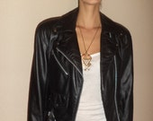 Everything must go sale Vintage Mini  MOTORCYCLE Riding BIKER leather jacket small or med