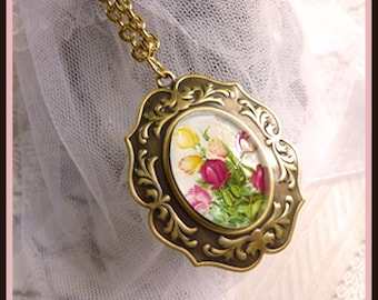 Antique Brass Setting - Beautiful Bouquet -Special Occasion Gift - Necklace  DC 8064