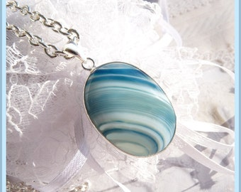 Botswana Agate in Beautiful Blue- Sterling Silver - Necklace  DC 8145