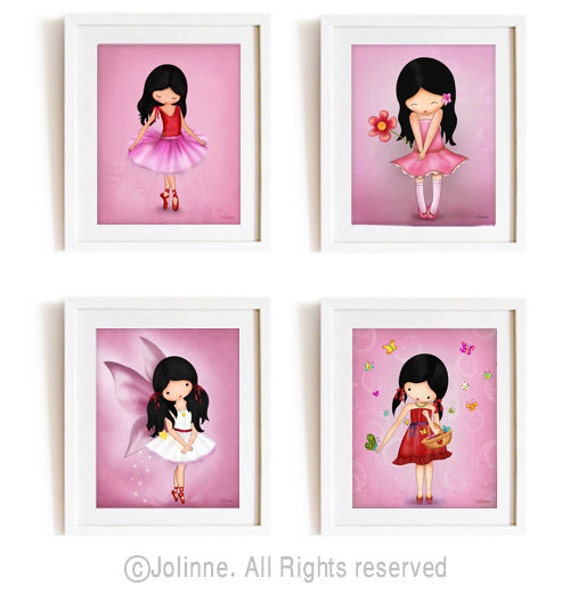 Wall art prints pink nursery decor art posters for kids for Pink wall art