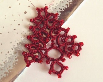 Red Christmas Tree Ornament - Fenella - Large