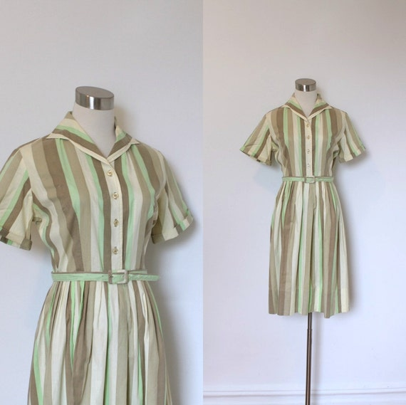 1950s Dress / 50s Striped Cotton Day Dress / Brown and Green  (small S)