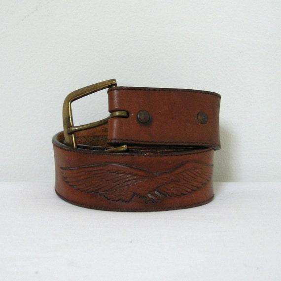 Leather Belt / Vintage Tooled Leather Eagle Belt / Brown