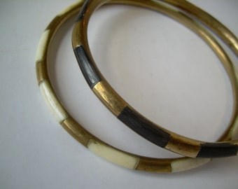 Set of (2) two Brass Ethnic bangle bracelets in Creme and Expresso