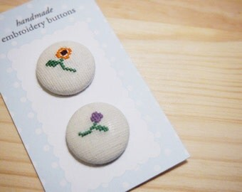 Spring Blossom Floral Embroidery Fabric Covered Button Pair