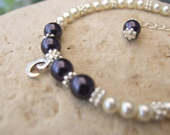 Beautiful Two Color Pearl Bracelet with Sterling Initial Charm B167