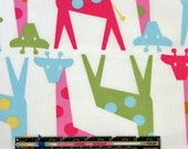 Trans Pacific Textiles Fabric Multicolored Polka Dot Giraffes Giraffe on White