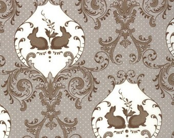 OOP HTF one yard Windsor Lane Bunny Hill Fabric Rabbit Twins Damask Taupe Gray and Ivory 2841-20