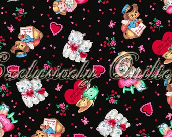 oop htf out of print 22 inches My Funny Valentine Vintage Valentines Day EQ Hearts Kittens Fabric on Black