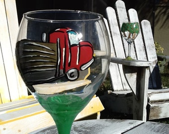 Logging truck wine glass