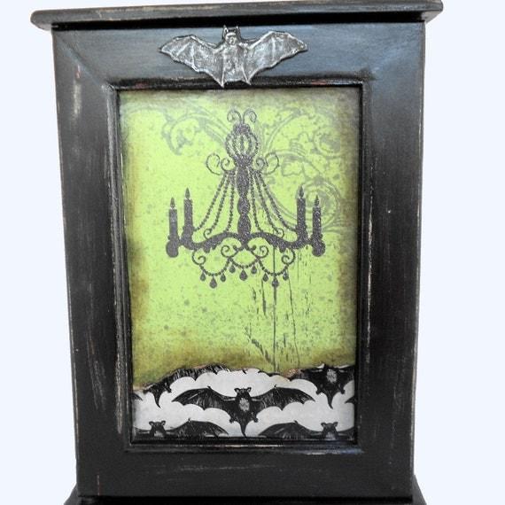 Key Rack - Gothic Decor - Key Hook Cabinet - Chalkboard door