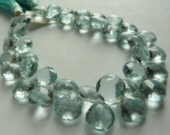 1/4 Strand - AAA Aqua Quartz Faceted Heart Briolettes (No. 1461)
