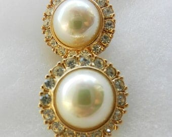 1970 Lovely Gift For Bride - by ROMAN  pearl Earrings ,pearls and crystals for the bride classic-Art.451-