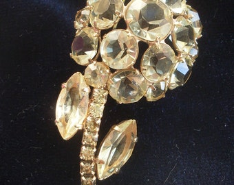 Vintage 1950 - beautiful bezel unfoiled Champagne crystals and gold-A Italian jewel of high quality - Art.737 -