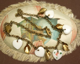 Vintage Glass Heart Necklace
