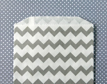 Gray Chevron Goody Bags / Favor Bags / Treat Bags (20) - 5 x 7.5 inches - Midi Size