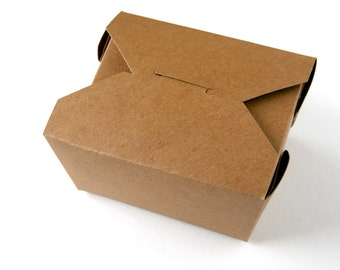 "Small Kraft Take Out Box - 5 x 4.25 x 2.5"" - set of 10"