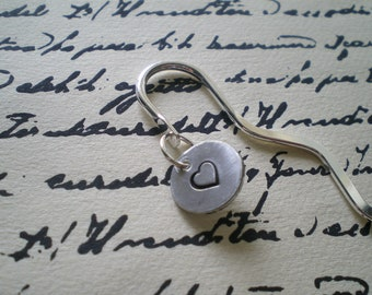 personalized hand stamped aluminum small squiggle metal bookmark, choose your design