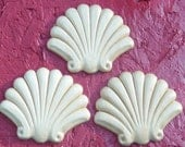 6 Seashell Clam shell Birch Wood Applique Trims 3 Inches x 2.5 Inches Paint Stain