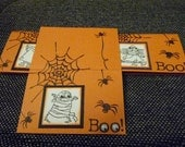 16 Halloween Trick or Treat Bag Toppers OR Cards, hand stamped with googly eyes and spiders
