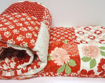 Patchwork Quilt, Baby Quilt, Vintage, Modern, Red and White Baby Quilt-Bonnie and Camille Baby Girl, Moda, Retro, Baby Quilt-Lap Quilt