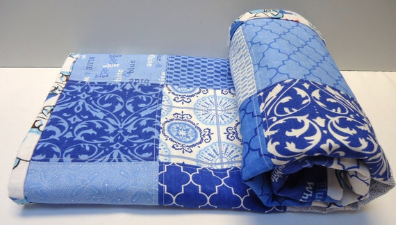 Patchwork Baby Blanket, Boy, Moda Spa, Classic Blue and White, Deb Strain,  polyester free