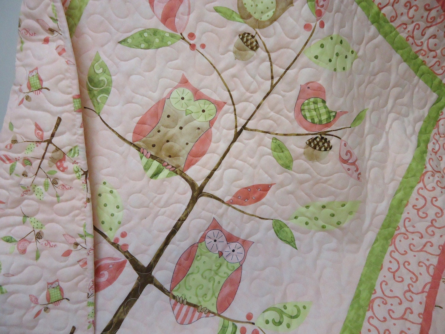 Girl Owl Bedding Baby Girl Quilt Pink Baby Quilt
