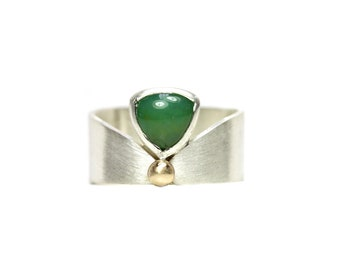 Royal Green Chalcedony Silver Gold Ring Modern Geometric - Modern Cleo