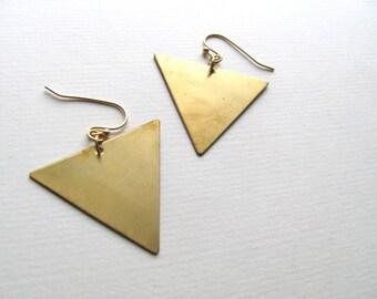 Geometric triangle drop earrings, oversized, 14k gold and brass