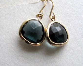 Indian sapphire drop earrings, faceted gray-blue glass on 14k gold fixtures, tear drop
