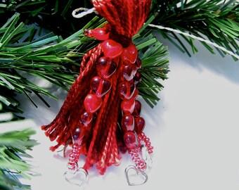 Heart Cascade Deep Red Beaded Tassel Decoration, Ornament, Gift Topper
