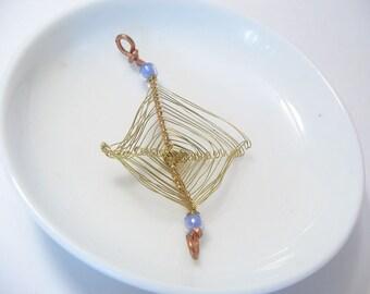 Metal Ojo God's Eye with Purple Beads Pendant Jewelry