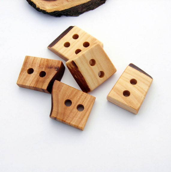 Wood Buttons - 5 Large Cherry Wood Buttons for Knitting, Crocheting or any craft projects