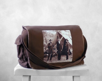 Abraham Lincoln - Messenger Bag - Vintage Photograph at Antietam- School Bag - Java Brown - Canvas Bag