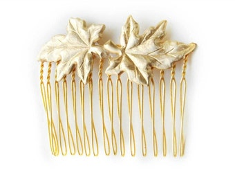 Golden Leaves Comb, Bridal Hair Accessories, Bridal comb, Bridesmaids, Hand Made, Gold Plated, Nature Inspired, Grecian Accessories, Goddess