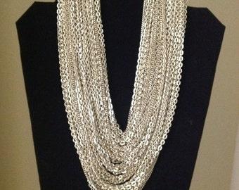 Vintage multi strand necklace silver