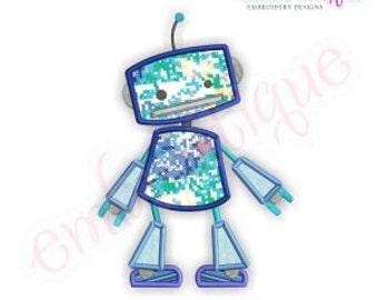 Blue Robot Applique- Instant Download -Digital Machine Embroidery Design