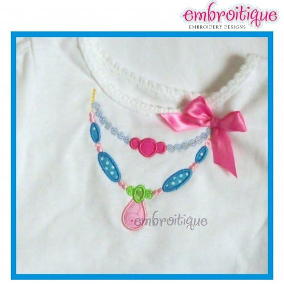 Beaded Necklace Applique- Instant Email Delivery Download Machine embroidery design