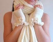 Cream Scarf, Wool Scarf, Handknitt Scarf, Christmas Gift, Long Scarf