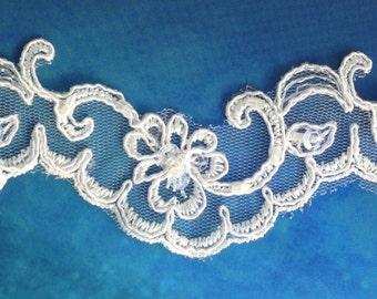 Lace trim, beaded lace edge, beaded trim lace, scalloped lace trim