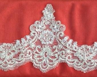 Bridal Beaded Lace trim, beaded lace edge, beaded trim lace, scalloped beaded lace trim