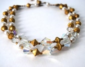 Vintage Multi Strand Clear Ab Crystal and Pearl Choker Necklace