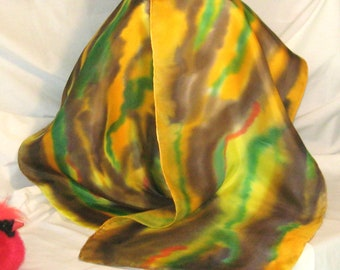 Silk Scarf,Yellow, Brown,Green,Hand Designed,(Arizona Desert)14x72 inches),Long Silk Scarf,Or Table Runner