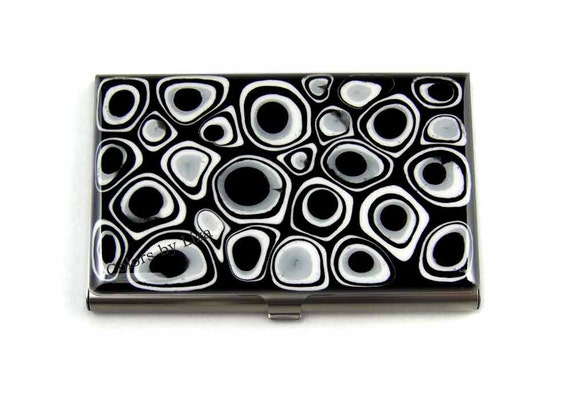 Business Card Case in  Hand Painted Enamel Black and White Mod Inspired   Metal Wallet Personalized and Custom Color Options